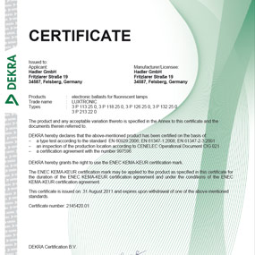 Electronic ballast for flourescent lamps Download Kompakt II Certificate Luxtronic